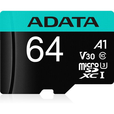microSDXC карта ADATA Premier Pro 64GB UHS-I U3 V30S + SD адаптер
