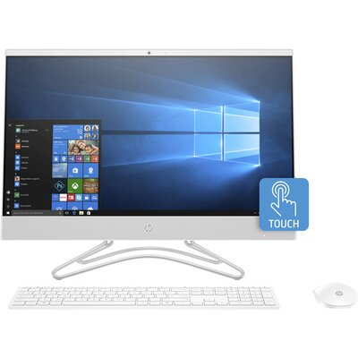 "Компютър HP All-in-One 24-f0009nu - 24"" FHD IPS сензорен екран, Intel Core i3-8130U, Снежно бяло"