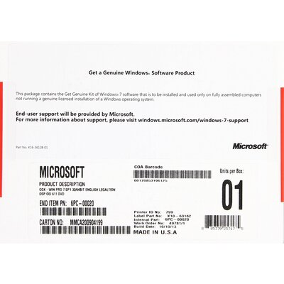 Microsoft Windows 7 Professional SP1 32-bit/64-bit English GGK OEI DVD