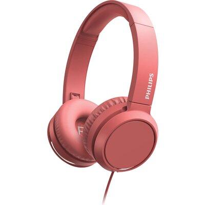 Слушалки с микрофон Philips TAH4105RD, червени