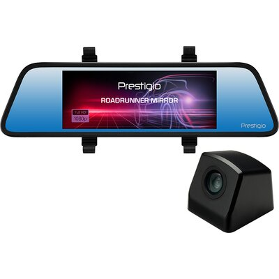 Prestigio RoadRunner MIRROR, 6.86'' (1280x480) touch display, Dual camera: front - FHD 1920x1080@30fps, HD 1280x720@30fps, rear