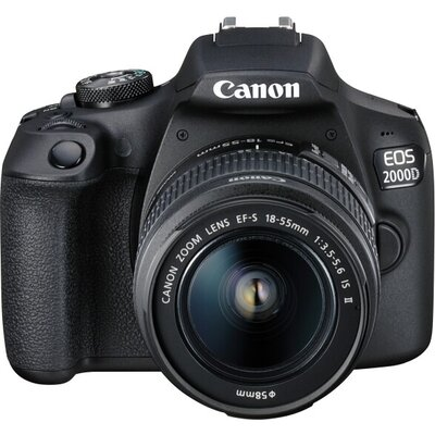 Огледално-рефлексен фотоапарат Canon EOS 2000D, black + EF-s 18-55mm f/3.5-5.6 IS II