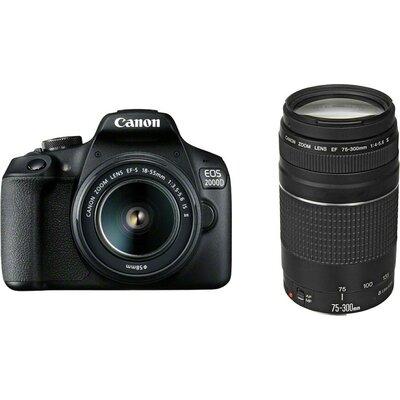 Огледално-рефлексен фотоапарат Canon EOS 2000D, black + EF-s 18-55mm f/3.5-5.6 IS II + EF 75-300 mm f/4.0-5.6 III
