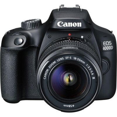 Огледално-рефлексен фотоапарат Canon EOS 4000D, black + EF-s 18-55 mm DC III
