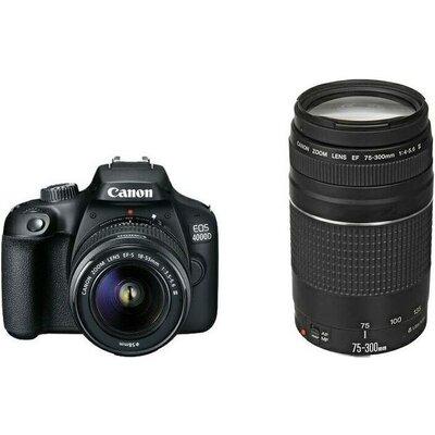 Огледално-рефлексен фотоапарат Canon EOS 4000D, black + EF-s 18-55 mm DC III + EF 75-300 mm f/4.0-5.6 III