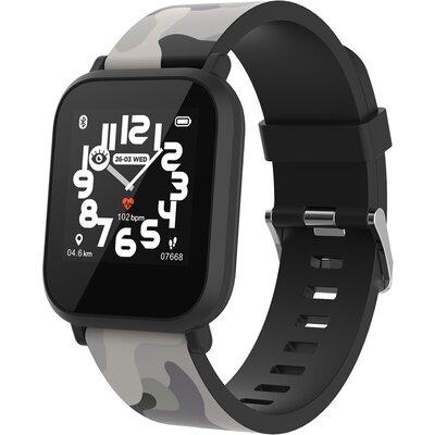 kids smart watch, 1.3 inches IPS full touch screen, black plastic body, IP68 waterproof, BT5.0, multi-sport mode, built-in kids