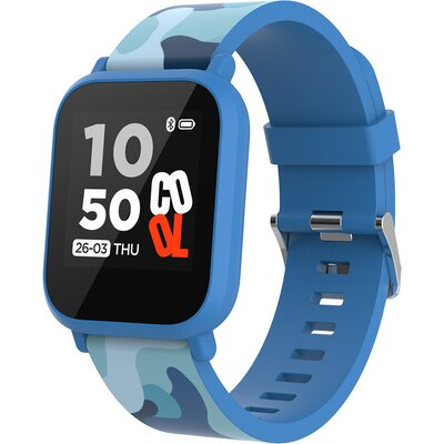 kids smart watch, 1.3 inches IPS full touch screen, blue plastic body, IP68 waterproof, BT5.0, multi-sport mode, built-in kids g