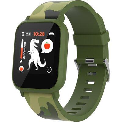 kids smart watch, 1.3 inches IPS full touch screen, green plastic body, IP68 waterproof, BT5.0, multi-sport mode, built-in kids