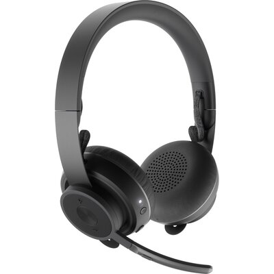 Слушалки Logitech Zone Wireless Bluetooth Headset, Noise-cancelling Microphone, Flexible Mic, On-ear Controls, USB, Graphite