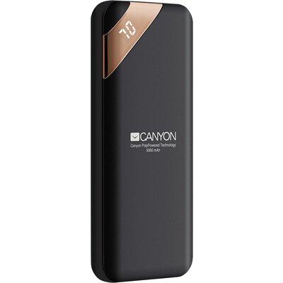 CANYON Power bank 5000mAh Li-poly battery, Input 5V/2A, Output 5V/2.1A, with Smart IC and power display, Black, USB cable length