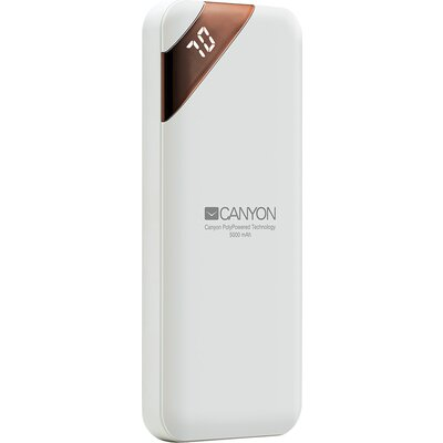 CANYON Power bank 5000mAh  Li-poly battery, Input 5V/2A, Output 5V/2.1A, with Smart IC and power display, White, USB cable lengt