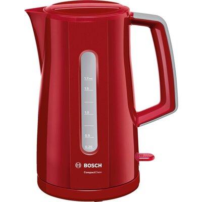 Електрическа кана Bosch TWK3A014, Plastic kettle, CompactClass, 2000-2400 W, 1.7 l, Red