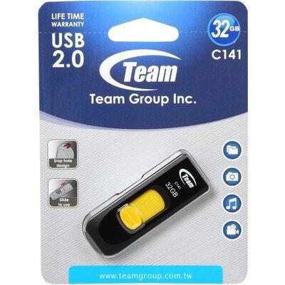 USB памет Team Group C141 32GB, USB 2.0, Жълт
