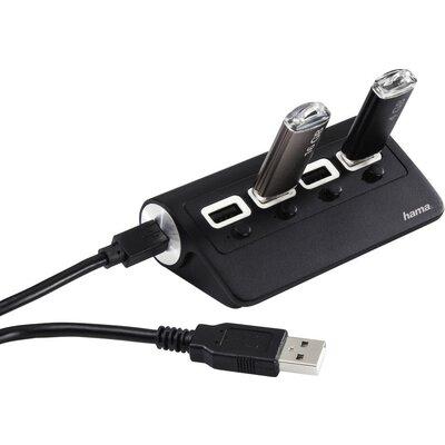 4-портов хъб HAMA On/Off суич, USB 2.0, Черен