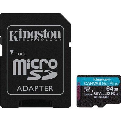 Карта памет Kingston Canvas Go! Plus, 64GB, UHS-I, Class 10, U3, V30, A2, Адаптер