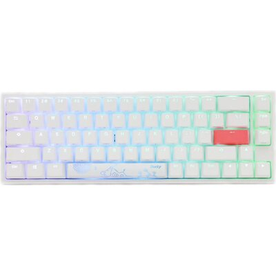 Геймърскa механична клавиатура Ducky One 2 SF White RGB, Kailh BOX Silent Pink