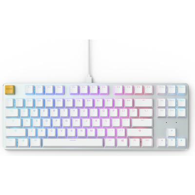 Геймърскa механична клавиатура Glorious White Ice GMMK RGB TKL, Gateron Brown US Layout