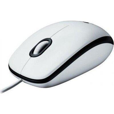 Жична оптична мишка LOGITECH M100, USB, Бял