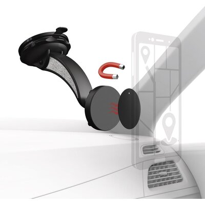 Магнитна стойка за стъкло и кола HAMA Magnet, за навигации/телефон/таблет, Черен