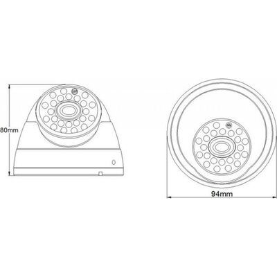 Камера за наблюдение VG HK HIGH TECH SO70IR25MDD, CMOS, Куполна, 700TVL, 3.6 mm lens, 23 pcs IR LEDs