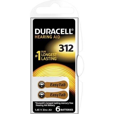 Батерия цинково въздушна DURACELL ZA312 6 бр. бутонни за слухов апарат в блистер