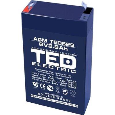 Оловна Батерия TED ELECTRIC   6 V  / 2.9 Ah - 65 / 33 / 105mm AGM - BAT-6V/2.9/AGM