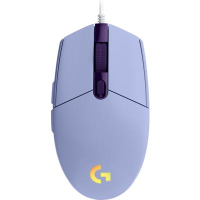 Геймърска мишка Logitech G102 LightSync, RGB, Оптична, Жична, USB, Лилав