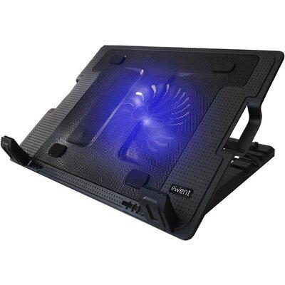 Охладител за лаптоп Ewent EW1258, Вентилатора 125мм, USB хъб, Черен