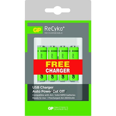 Зарядно устройство /powerbank / GP U411,  micro USB, 1A,  + 4 акум.батерии R6 AA, 2700mA