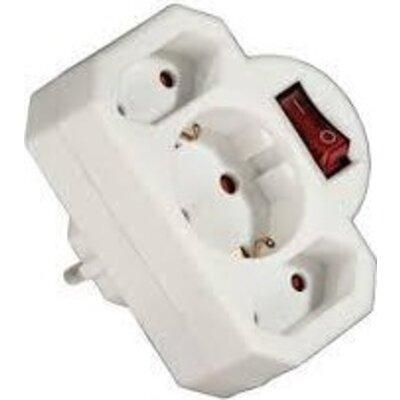 Разклонител HAMA-108846 с 3 гнезда -бял с ключ- адаптер - HAMA-108846