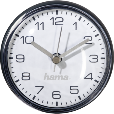 Часовник за баня Hama Mini, Ø7 cm, за стена, вендузи, Черен
