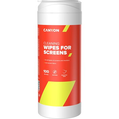 Canyon Screen Cleaning Wipes, Wet cleaning wipes made of non-woven fabric, with antistatic and disinfectant effects, 100 wipes,