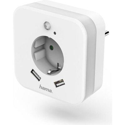 Нощна лампа  HAMA Night Light, 2 x USB, 2.4 A, Сензор за движение, Бял