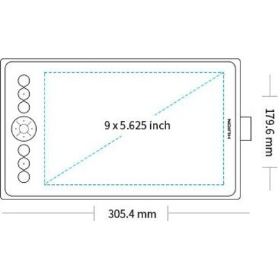 Графичен таблет HUION Inspiroy Ink H320M, USB-C, Черен