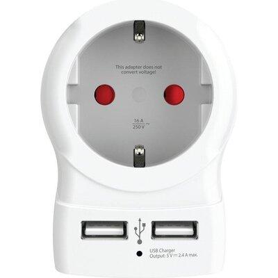 Адаптер SKROSS 1500282  EU към EU с USB Hub