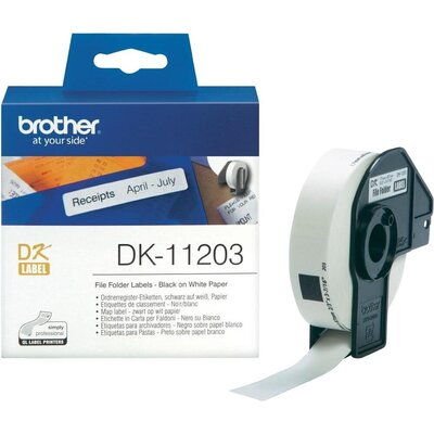Консуматив Brother DK-11203 File Folder Labels, 17mm x 87mm, 300 labels per roll, Black on White