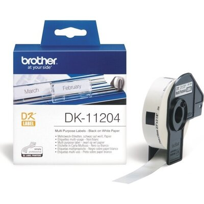 Консуматив Brother DK-11204 Multi Purpose Labels, 17mmx54mm, 400 labels per roll, Black on White
