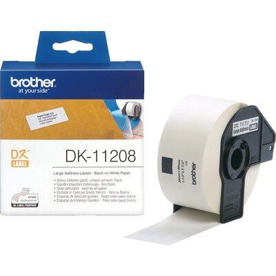 Консуматив Brother DK-11208 Large Address Paper Labels, 38mmx90mm, 400 labels per roll, (Black on White)