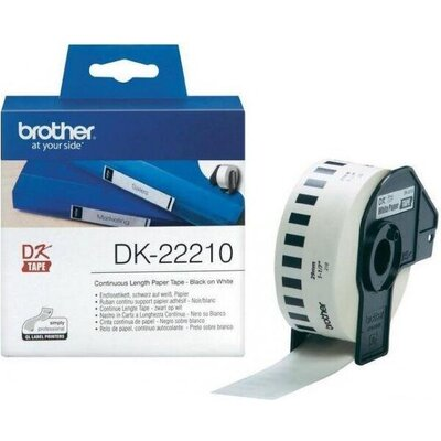 Консуматив Brother DK-22210 Roll White Continuous Length Paper Tape 29mmx30.48M (Black on White)