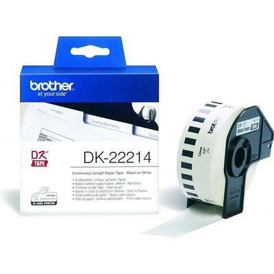 Консуматив Brother DK-22214 White Continuous Length Paper Tape 12mm x 30.48m, Black on White