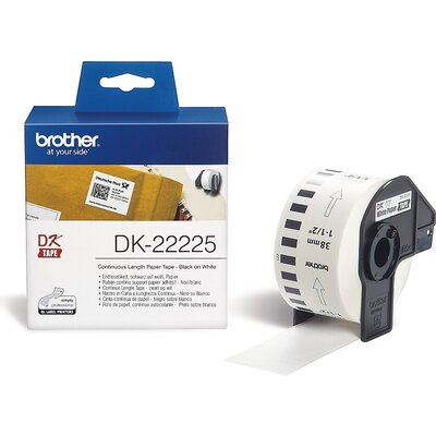 Консуматив Brother DK-22225 White Continuous Length Paper Tape 38mm x 30.48m, Black on White