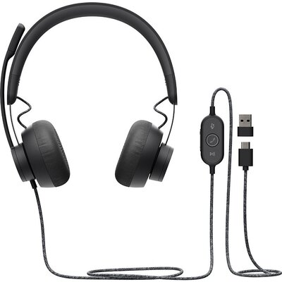 LOGITECH Zone Wired headset-GRAPHITE-USB-EMEA-TEAMS
