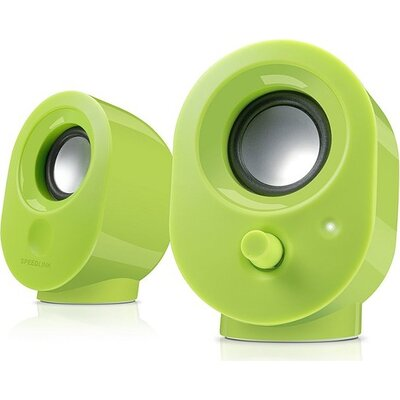 Speedlink SNAPPY Stereo Speakers, 4W RMS output power, USB powered, Volume control, Cable length: 1.2m, green