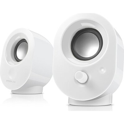 Speedlink SNAPPY Stereo Speakers, 4W RMS output power, USB powered, Volume control, Cable length: 1.2m, white