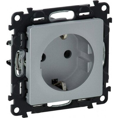 2P+E socket with shut. Valena Life - automatic terminals - German standard -16 A 250 V~ Aluminium.IP 2X protection.Supplied with
