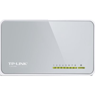 Switch TP-Link TL-SF1008D, 8-Port RJ45 10/100Mbps desktop switch, Fanless, LED indicator, Auto Negotiation/Auto MDI/MDIX, Plasti