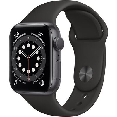 APPLE Watch S6 v 40mm Space Gray Aluminium Case with Black Sport Band - Regular
