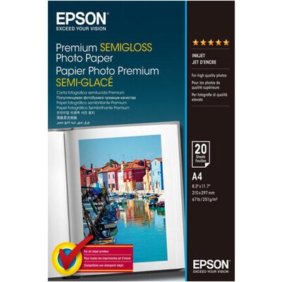 EPSON Premium semi gloss photo paper inkjet 251g/m2 A4 20 sheets 1-pack
