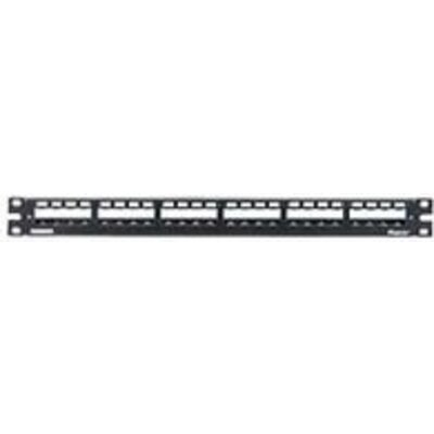 """19"""" 24-Port Metal Patch Panel Mini-Com with strain relief bar"""