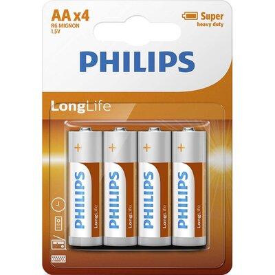 Philips Longlife батерия R6 AA (E), 4-blister